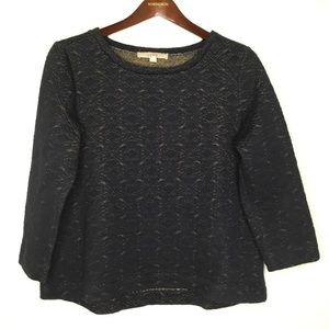 LOFT Navy & Gold Quilted Sweater